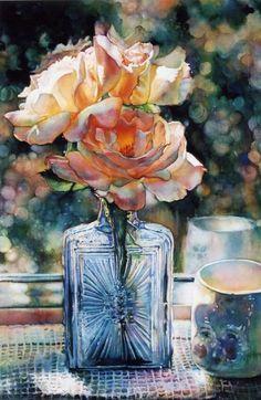 I'll practicin'!—Still Life by Jeannie Vodden, Colored Pencil. Love the depiction of the glass.