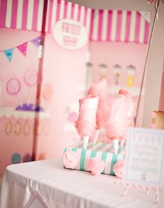 An Oh-So-Sweet Cotton Candy Party!: Forget the cookies and cake: cotton candy is the star at this birthday bash! Candy Theme Birthday Party, 1st Birthday Parties, Party Themes, Party Ideas, Birthday Ideas, Barbie Birthday, Girl Birthday, Cotton Candy Party, Carousel Party