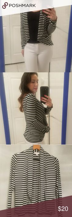 Striped cardigan Black and white striped cardigan. Lightweight and silky soft, size small. Great condition Kenar Sweaters Cardigans