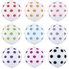 "Polka Dot Balloon - White with Yellow Dots - 36"" at The TomKat Studio"