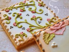 Brush embroidered cookies inspired by Claire Pettibone's Still Life collection.