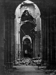 """"""" The ruins St. Quentin Cathedral, France 18 October 1918 """" Almost of the Cathedral (and the entirety of the Basilica) had been damaged or destroyed during the Great War Abandoned Churches, Abandoned Places, Touch Up Paint, Danse Macabre, Dark Places, Gothic Architecture, Back To Nature, Urban Decay, Black And White"""