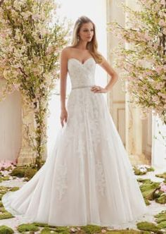 Morilee Bridal Madeline Gardner Romantic Soft Tulle Overlays Delicately Beaded Alencon Lace Appliques