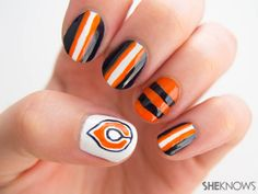 Nail design: Chicago Bears manicure tutorial