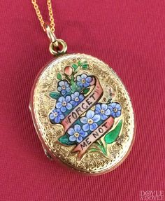 Slip a photo of your sweetie inside. Romantic Victorian enamel forget-me-not gold locket from Doyle & Doyle.