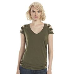 Rock & Republic® Embellished Slash-Shoulder Top - Women's