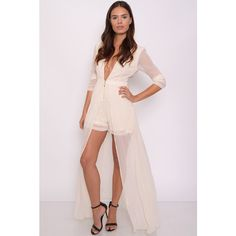 Rare London Cream Playsuit with Maxi Overlay ($85) ❤ liked on Polyvore featuring jumpsuits, rompers, rare london, pink rompers, plunge romper, pink romper and playsuit romper