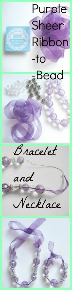 Very pretty and easy to make tutorial. Matching bracelet and necklace which only uses a few products. I love this ribbon that has wire on the end to add beads!
