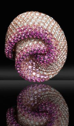 """""""Nastro"""" ring with white diamonds and pink shaded sapphires on pink gold by Palmiero"""