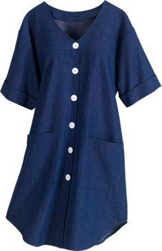 Womens denim smock dress