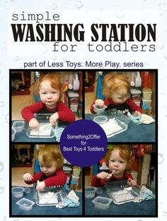 Simple Washing Station for Toddlers - Best Toys 4 Toddlers Sensory Activities, Learning Activities, Preschool Activities, Toddler Language Development, Home Childcare, Play Based Learning, Baby Learning, Care Jobs, Toys For Us