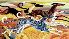 "Dahlov Ipcar Paintings for Sale | Dahlov Ipcar""Four Greyhounds""20"" X 35"" Oil on Canvas2004"