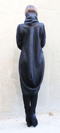ab5fe700fe9 High collar coat Coats women Trench coat women Winter wool coat Asymmetrical  coat Wool coat Black coat Trench coat Waterfall cardigan C0007