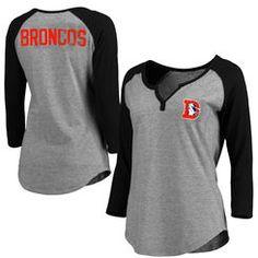 Women's Denver Broncos Pro Line Gray Philips Henley 3/4-Sleeve T-Shirt