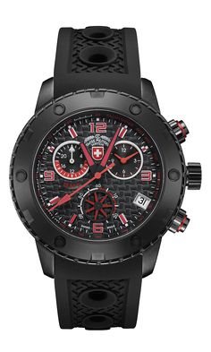 The RALLYE GMT NERO sets a new standard in its class: the design of the highly scratch resistant black DLC-plated case was inspired by the heavy duty wheels use Sport Watches, Cool Watches, Watches For Men, Marc Jacobs Watch, Leather Watch Bands, Black Rubber, Casio Watch, Bracelet Watch, Plating