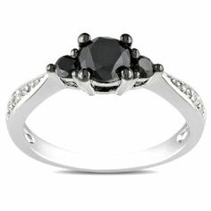 Sterling Silver 1 CT TDW Black and White Diamonds Engagement Ring (G-H, I3) Amour. $209.99