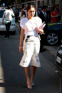 great skirt, interesting top. Milan.