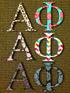 hand painted greek alpha phi letters double sided so that they get two different prints Alpha Phi Letters, Alpha Phi Crafts, Alpha Phi Sorority, Alpha Phi Omega, Sorority Letters, Kappa Alpha Theta, Alpha Chi, Sorority Life, Chi Omega