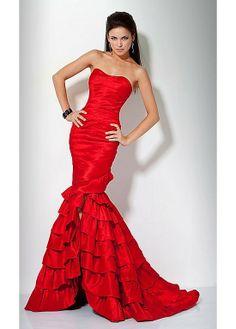 Vestido Vermelho Sereia 2013 Chegada Nova Custom Made Frente Slit Andar de comprimento do querido Frete Grátis 126.99