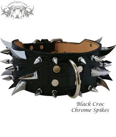 """XC30 - 3"""" Multi Spiked Leather Dog Collar. Specs: 3"""" Wide Tapered to 2"""" Wide Heavy Duty Buckle, D-Ring, Metal Loop 1"""" Tree Spikes (Chrome, Black or Gold) 1 5/16"""" Dragon Claw"""