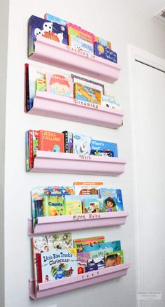 "I know what you're thinking, ""another rain gutter bookshelf idea?"" This idea is different and stylish! Come along while I share how I create my own DIY Rain Gutter Shelves, Gutter Bookshelf, Diy Bookshelf Plans, Bookshelf Storage, Book Shelves, Kid Book Storage, Nursery Bookshelf, Book Bins, Shelving"