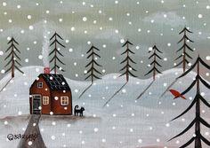 Snow Day 5x7 inch Canvas Panel ORIG Landscape PAINTING PRIM FOLK ART Karla G..new painting for sale #FolkArtAbstractPrimitiveLandscape
