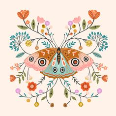 Leading Illustration & Publishing Agency based in London, New York & Marbella. Art And Illustration, Butterfly Illustration, Cat Illustrations, Arte Inspo, Kunst Inspo, Folk Art Flowers, Flower Art, Posca Art, Scandinavian Folk Art
