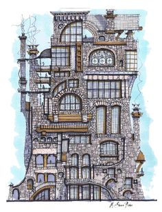 The Vertical by Shawn Fisher. Pen and ink, colored pencils.