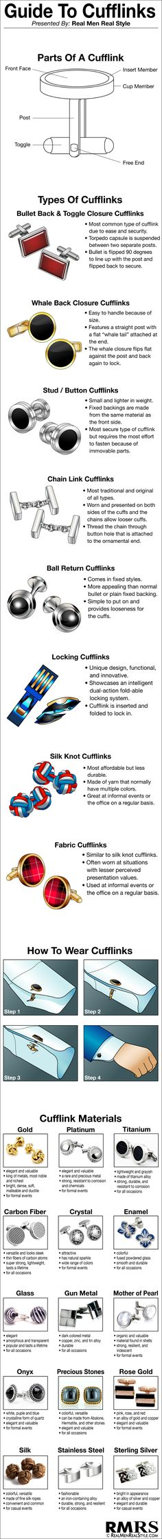 Ultimate Guide to Cufflinks Infographic | Man's Guide to Cuff-links | Cufflink Visual Chart #infographic #infographics