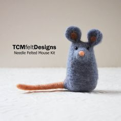 Needle Felting Kit, Mouse, wool complete animal fiber kit for beginners