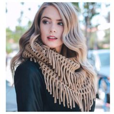 """""""Always My Style"""" Chenille Tassel Fringe Mocha Infinity Scarf - Cheryl's Galore and More - 1"""