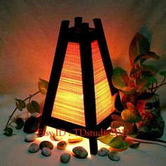 Orange bedside table lamp wood bamboo furniture TBM200