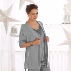 Clovia Short Satin Robe In Silver Grey