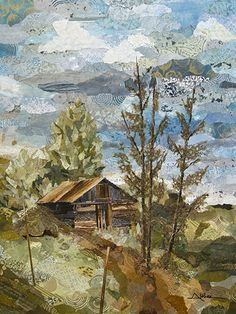 Still Standing  48 x 36 Torn paper collage painting