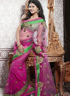 pink colour saree with green broad border in net style...