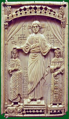 Byzantine ivory plaque - Christ crowns & blesses emperor Otto II & his wife Theophanu [982-83 CE] | da petrus.agricola