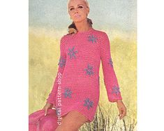 Crochet Beach Dress Pattern Womens Vintage Flower Mini Dress Crochet Pattern Mesh Tunic Cover Up PDF Poncho Knitting Patterns, Afghan Crochet Patterns, Knitted Poncho, Knit Patterns, Crochet Bikini Pattern, Swimsuit Pattern, Crochet Beach Dress, Vintage Crochet Patterns, Crochet Wool