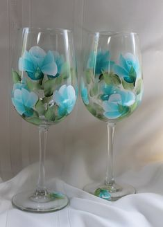 Hand Painted Wine Glasses Set of 2  Teal by SilkEleganceFlorals