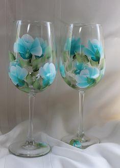 Hand Painted Wine Glasses Set of 2  Teal by SilkEleganceFlorals