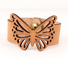 Butterfly Bracelet Leather Cuff Laser Cut by Moraye on Etsy