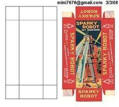 """Vintage toy packaging - miniature printable for """"Sparky Robot"""""""