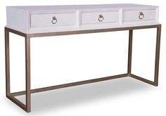COSMOPOLITAN COLLECTION A R T FURNITURE Console Table With Faux Crocodile  Embossed Leather U0026 Metal Base
