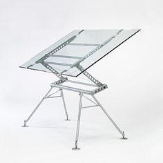 SIR NORMAN FOSTER    Great Portland Street desk    Stapleton Engineering Essex  United Kingdom, 1982  enameled steel and aluminum, glass