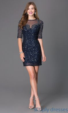 Dress, Short Sequin Party Dress with Sleeves - Simply Dresses