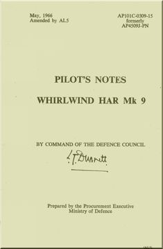 Westland WhirlWind H.A.R. Mk.9 Helicopter Pilot's Notes Manual - AP 4509J-PN - Aircraft Reports - Aircraft Manuals - Aircraft Helicopter Engines Propellers Blueprints Publications
