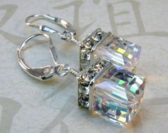 Hey, I found this really awesome Etsy listing at https://www.etsy.com/listing/156640361/swarovski-cube-earrings-crystal-drop