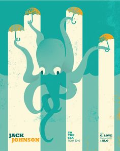 Jack Johnson, Music poster, gig, octopus
