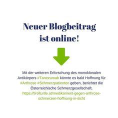 Neuer Blogbeitrag ist online:  Die Österreichische Schmerzgesellschaft hat das Thema Arthrose Schmerzen aufgegriffen und über ein neues #Medikament informiert. Es geht dabei um den monoklonalen Antikörper #Tanezumab dessen Wirkstoff jenen Arthrose Schmerzpatienten helfen könnte bei denen herkömmlichen Analgetika nicht wirken oder die diese nicht vertragen.  #arthrose #knorpel #knorpelabbau #gelenkverschleiss #gelenke #coxarthrose #gonarthrose #rizarthrose #endoprothese #totalendoprothese… First Aid