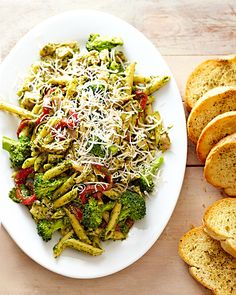 Fresh broccoli and roasted red sweet peppers dress up deli-roasted chicken and purchased pesto in this easy pasta dinner recipe made for busy weeknights. Slice a toasted baguette to pair with the pasta. Easy Summer Meals, Summer Recipes, Easy Meals, Fall Recipes, Whole Roasted Chicken, Easy Chicken Recipes, Quick Recipes, Turkey Recipes, Healthy Recipes