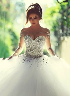 bridalup.com SUPPLIES Charming BallGown Floor-Length Full-Sleeves Backless Tulle Beading Beach Wedding Dress Sexy Wedding Dresses